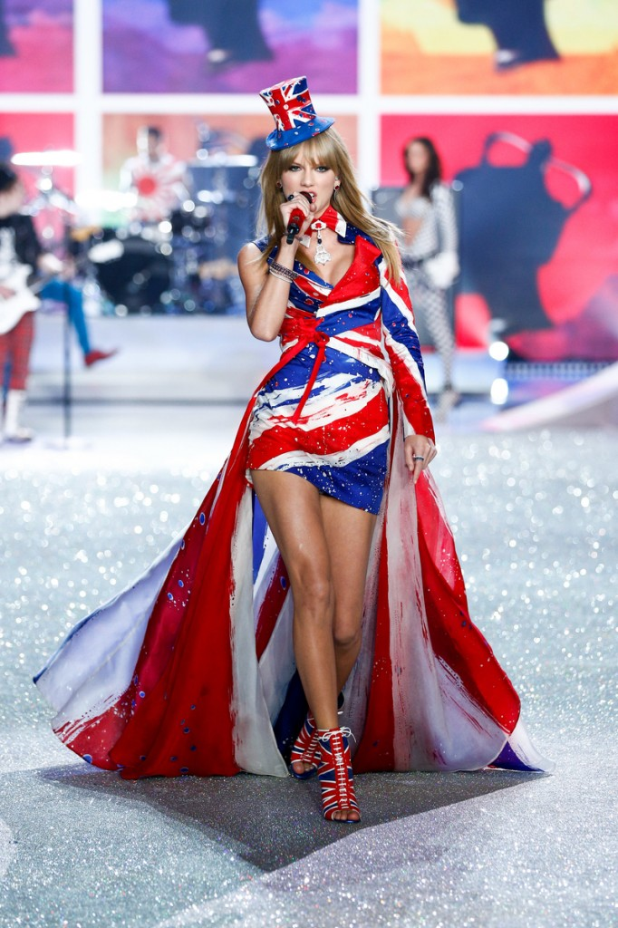 Taylor Swift performs on the runway at the 2013 Victoria's Secret Fashion Show in New York City on November 13th, 2013