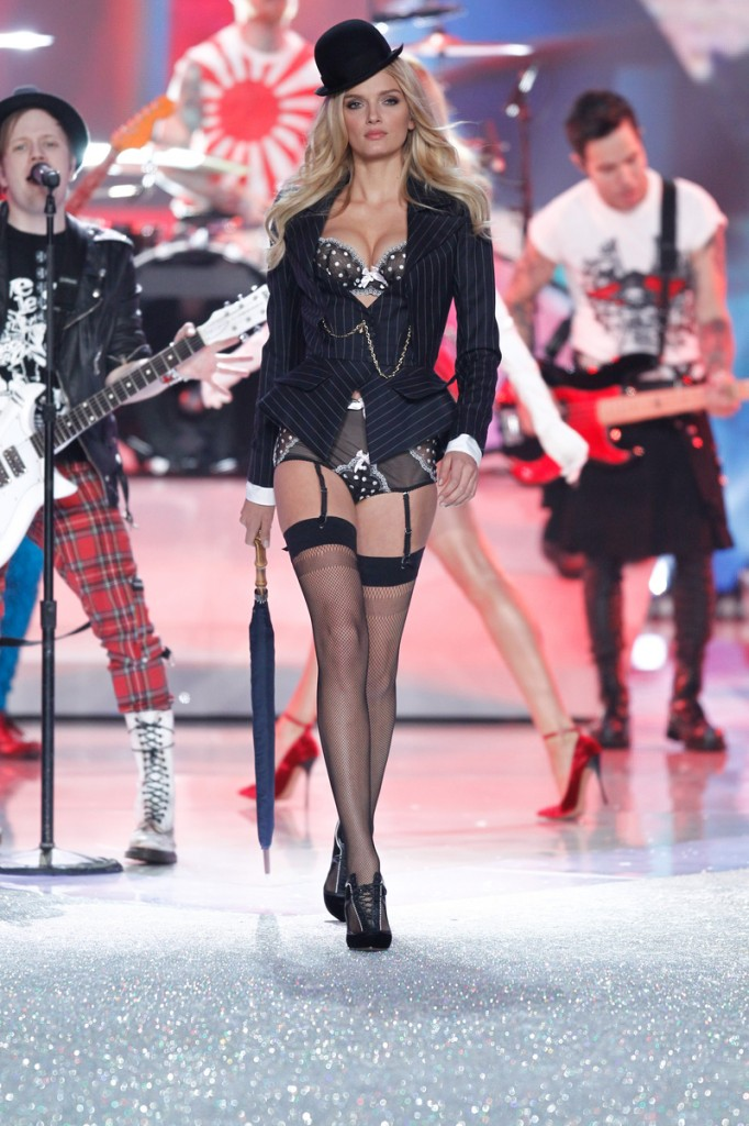 Lily Donaldson walks the runway at the 2013 Victoria's Secret Fashion Show in New York City on November 13th, 2013