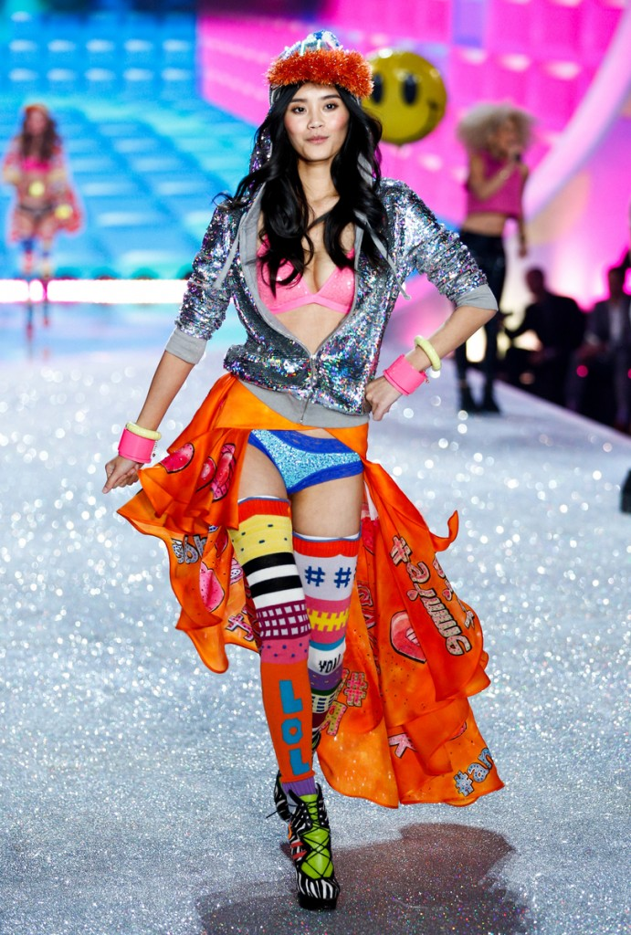 Ming Xi walks the runway at the 2013 Victoria's Secret Fashion Show in New York City on November 13th, 2013